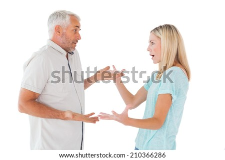 Unhappy couple having an argument on white background - stock photo