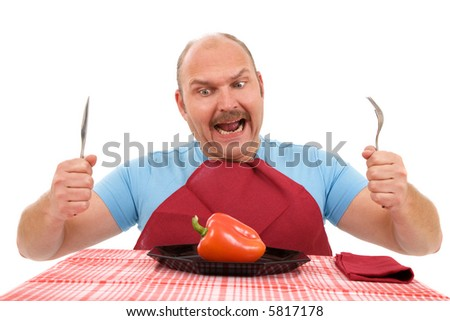 Unhappy dieting man with only a red pepper on his plate