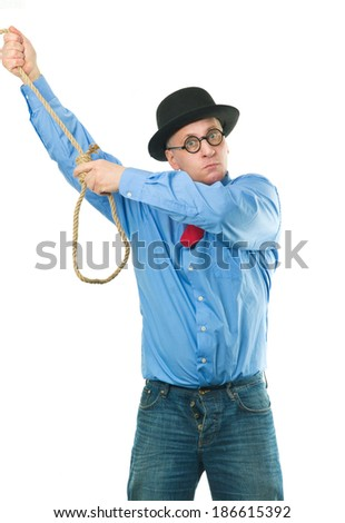 Unhappy man with a rope in his hands - stock photo