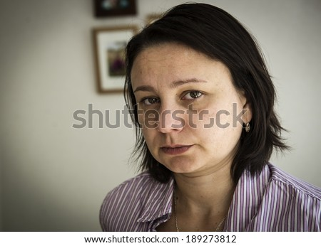 "Unhappy mature woman. ""Real People"" series - stock photo"