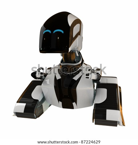 Unhappy robotic toy isolated on white