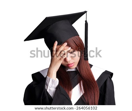 unhappy sad student woman graduating isolated on white background, asian beauty - stock photo