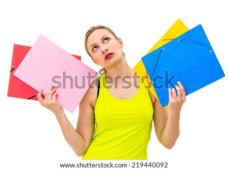 unhappy woman with folders on white background