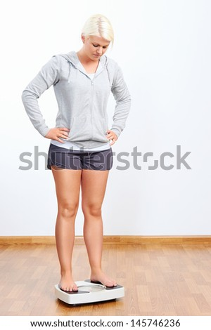 unhappy woman with scale weighing - stock photo