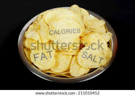 Unhealthy food concept. Potato chips - stock photo