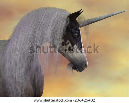 Unicorn Beauty - A Unicorn is a creature of fantasy and mythology which has a horn on its head, a lion's tail and cloven hooves. - stock photo