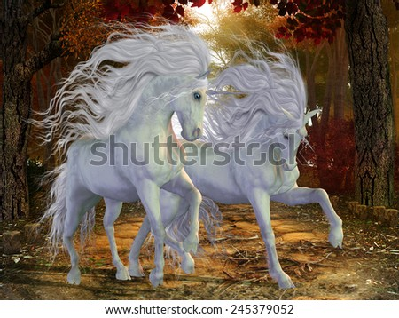 Unicorn Brothers - Beautiful magical Unicorn stags prance on a forest road in the autumn season. - stock photo