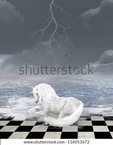 Unicorn in a surreal seascape - stock photo