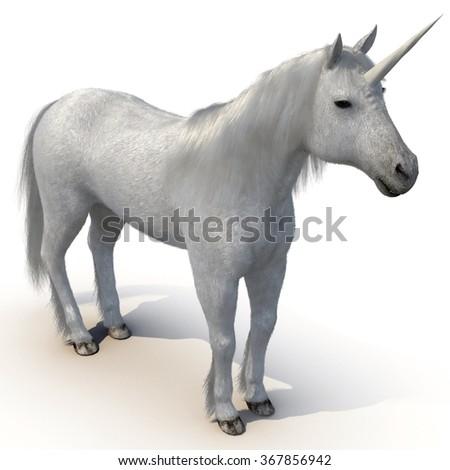 Unicorn on White Background - stock photo
