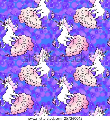unicorn wallpaper with purple and pink mist - stock photo