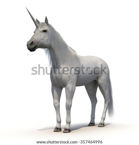 Unicorn with Fur on White Background - stock photo