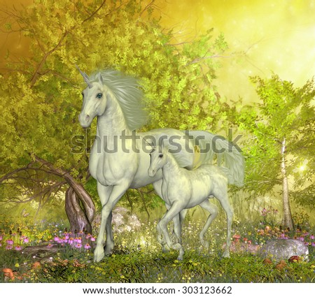 Unicorns in Glen - A white mother unicorn leads her colt through the magical forest full of spring flowers. - stock photo