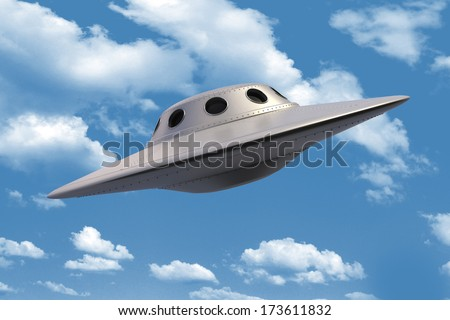 Unidentified Flying Object in sky - stock photo