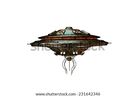 unidentified flying object isolated on white background - stock photo