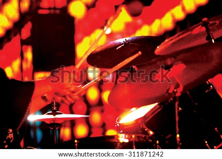 unidentified Jazz drummer playing drum in music festival, Chiang Mai, Thailand. - stock photo