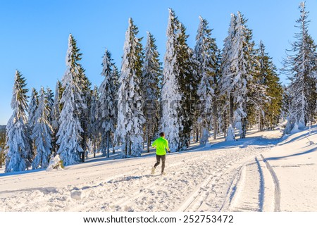 Unidentified runner on trail in winter landscape of Gorce Mountains, Poland - stock photo