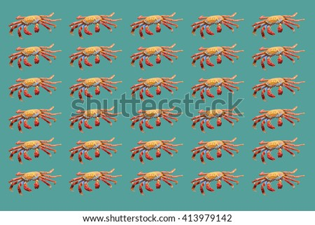 Uniform pattern of red crabs on turquoise background - stock photo