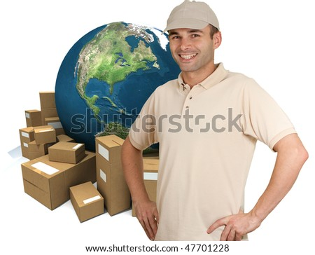Uniformed man smiling with a world map and cardboard boxes as a background - stock photo