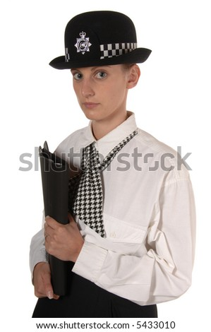 Uniformed UK female police officer holding a file of papers isolated on white - stock photo