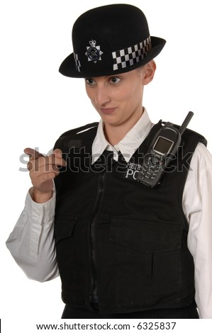 Uniformed UK female police officer in ready stance holding metal telescopic baton isolated on white - stock photo