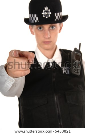 Uniformed UK female police officer pointing an accusing finger isolated on white - stock photo