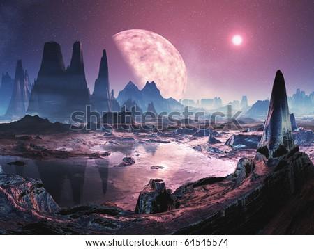 Uninhabited Alien Planet - stock photo