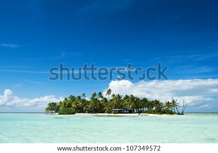 Uninhabited or desert island with palm trees on it in the shallow turquoise water of the Blue Lagoon inside Rangiroa atoll, an island of the Tahiti archipelago French Polynesia in the Pacific Ocean. - stock photo