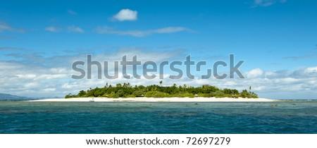uninhabited remote island of Mala Mala part of Fiji Islands - stock photo