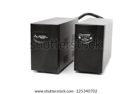 uninterruptible power supply (ups) with reserve battery, isolated on white - stock photo