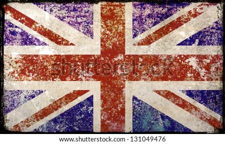 Union Flag distressed; British/United Kingdom flag; extremely distressed with black border - stock photo