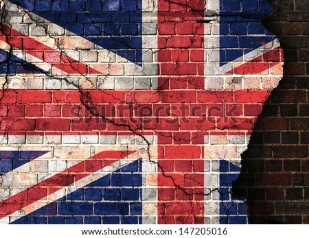 Union flag on a cracked brick wall background - stock photo