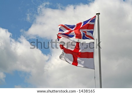 union jack and St george's flag - stock photo