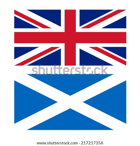 Union Jack flag of the UK and flag of Scotland