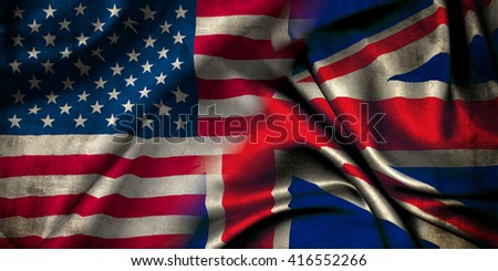 Union Jack flag representing the United Kingdom of Great Britain and the flag of the United States of America - stock photo