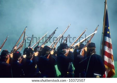 Union line preparing to volley fire,Civil War battle reenactment - stock photo
