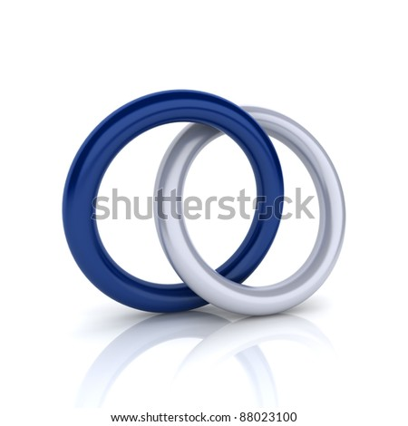 Union of metallic and blue circles (union concept) - stock photo
