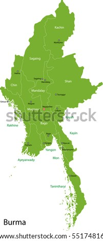 Union of Myanmar (Burma) map with provinces and capital cities