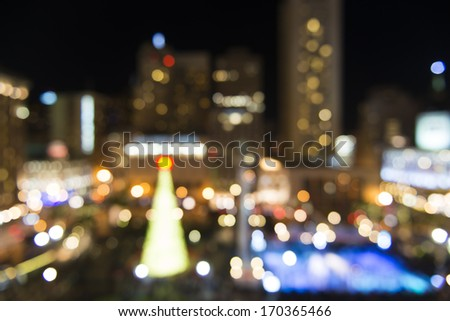 Union Square holiday setting, San Francisco. De-focused. - stock photo