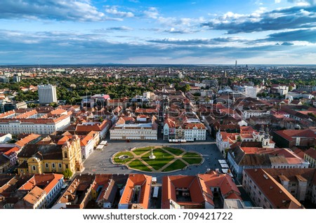 Union Square Timisoara under beautiful blue cloudy sky - HDR aerial view taken by a professional drone