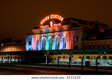 union station in Denver at christmas - stock photo