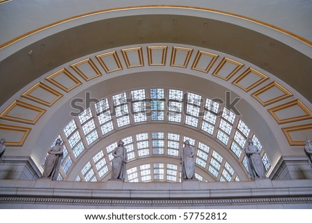 Union station, Washington dc, with statue and curved window. - stock photo