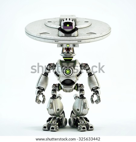 "Unique bot - robotic creature with plate ""dish"" head and camera. It may serve as surveillance guard, video monitoring / Plate bot"