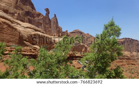 Unique, colorful rock formations at Arches National Park in Utah