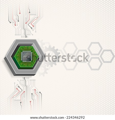 Unique concept for technology background; Mini electronic chip framed by three dimensions hexagon.Abstract background for office and business, wallpaper, poster, template for designers.  - stock photo