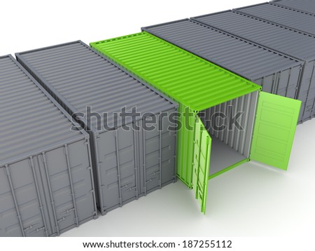 Unique container among ordinary.Isolated on white. - stock photo