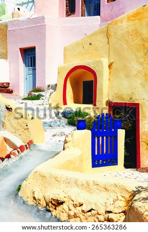 unique Cyclades architecture - old streets of Santorini - stock photo