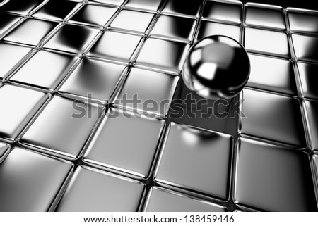 Unique, difference, leadership, and individuality concept: one different shiny metal ball standing out in the crowd of steel cubes - stock photo