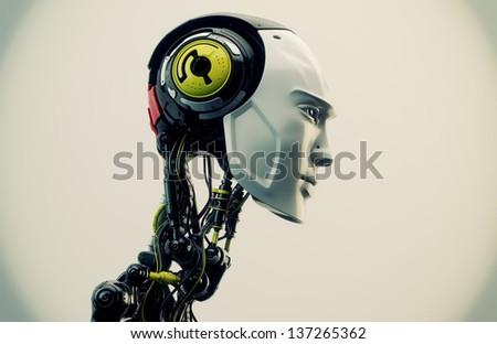 Unique futuristic man with modern colored parts / Fashion artificial model - stock photo
