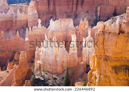 Unique geological structures, called hoodoos, formed by the erosion of river and lake sediment by wind, water and ice. National Park Bryce Canyon (Utah) at sunrise - stock photo
