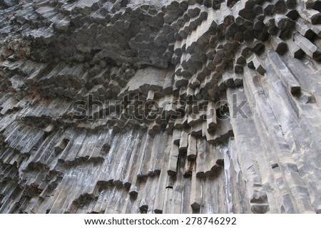 Unique geological wonder Symphony of the Stones near Garni, Armenia - stock photo